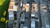 zinco : Roofs of old garages from above, aerial shoot