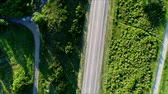 cars moving on road top view, aerial shoot