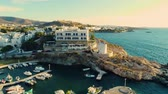 Киклады : Greece, Paros - June, 06 2018: Aerial view at island Paros from coast at sunset Стоковые видеозаписи
