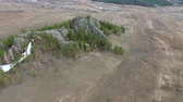 veld : Flying over the forest in the mountains of drone near Ulan-Ude, Buryatia, Russia