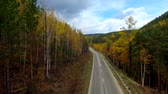 curso : A birds-eye aerial flight over the road autumn forest. Russia Buryatia
