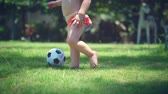 uczeń : A two-year-old boy likes to play football in the park, run and kick the ball. Wideo