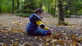 tosses : Beautiful Happy Smiling Stylish Joyful European Little Cute Boy in Autumn Park Playing with Autumn Leaves Tosses Autumn Leaves . Autumn Concept, Happy Childhood.