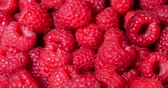 appetizer : Close Up Rotation Loopable Raspberry. Fresh, Juicy Raspberry Background, Ripe. Macro Red Raspberries Fruit. Fresh Raspberry Fruits As Food Dackground. Healthy Food Organic Nutrition.