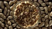 macro : Raw Peanuts in a Bowl. Stock Footage