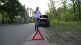 уличный фонарь : Driver standing beside broken down vehicle making emergency call.