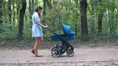 koets : Mother walking with a pram in the park. Summer nature background. Stedycam.