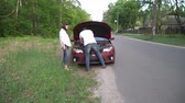 abschleppdienst : The man is helping the woman with her broken car in the middle of a countryside.