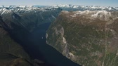 cinematic : The amazing fjord of Geiranger in Norway Stock Footage