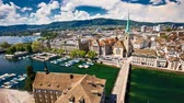 zurichsee : 4K Timelapse of historic Zurich city center with famous Fraumunster Church, Limmat river and Zurich lake