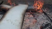 madeira compensada : Burning plywood - slow motion clip