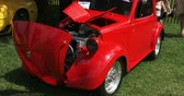 chassis : Vintage red FIAT Topolino at Guelph classic car show on August 24, 2014 in Guelph, Ontario, Canada Stock Footage