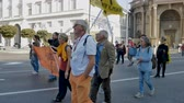 protesters : People march against G7 Ministerial Meeting on Agriculture in Bergamo, Italy on October 15, 2017. Stock Footage