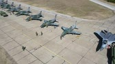 strike : Aerial view of military airplanes exercises