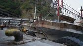 tied up : Squid fishing boat docked at Ulleungdo Dodong Port. South Korea. Stock Footage