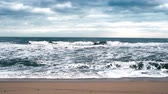 A seashore scene in which high waves come with cloudy weather and strong winds. South Korea Donghae the sea. Stock Footage