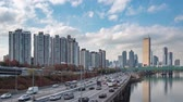 4K, Time lapse. The Han River Scenic Area in Seoul, the capital of South Korea. Stock Footage