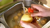 kitchen brushes : Male hands peeling raw potatoes with a knife in the sink with water