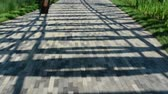 step by step : Abstract architectural metal design on the park walking trail. Stock Footage