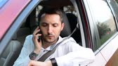 impatient : Driver of a car being bored sitting in his vehicle waiting. Stock Footage