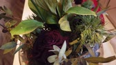 kuru : Wilted drooping bouquet of flowers in a vase at home Stok Video