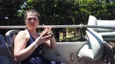 Куба : Girl goes on a sightseeing double-Decker bus on Varadero, Cuba