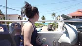 cubano : Girl goes on a sightseeing double-Decker bus on Varadero, Cuba