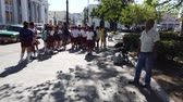 excursão : Cienfuegos, Cuba - April 2019: Cuban students on the streets