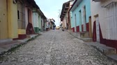 old world : Cuban street, Trinidad, Cuba. Historic streets of Trinidad Stock Footage