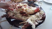 halászat : Just cooked a fresh lobster. People eat lobster on the boat. Rocking the boat