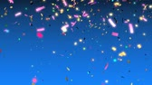 Animation of colorful confetti falling Stock Footage