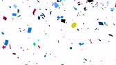Multi-colored confetti falling, holiday abstract background Stock Footage