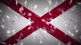 fiocchi di neve : Alabama flag falling snow loopable, New Year and Christmas background, loop.