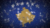 zigeuners : Kosovo flag falling snow loopable, New Year and Christmas background, loop. Stockvideo