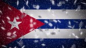 januari : Cuba flag falling snow loopable, New Year and Christmas background, loop.