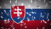 Словакия : Slovakia flag falling snow loopable, New Year and Christmas background, loop. Стоковые видеозаписи