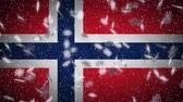oslo : Norway flag falling snow loopable, New Year and Christmas background, loop. Stock Footage