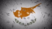 Republic of Cyprus flag falling snow loopable, New Year and Christmas background, loop.