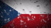 Czech Republic flag falling snow loopable, New Year and Christmas background, loop. Stok Video