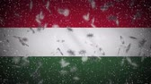 snowfall : Hungary flag falling snow loopable, New Year and Christmas background, loop.