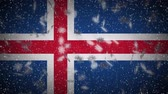 Iceland flag falling snow loopable, New Year and Christmas background, loop.