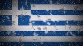 Greece flag falling snow loopable, New Year and Christmas background, loop.