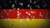 Germany flag falling snow loopable, New Year and Christmas background, loop.