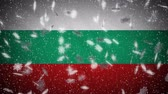 Bulgaria flag falling snow loopable, New Year and Christmas background, loop. Stok Video