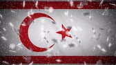 Turkish Republic of Northern Cyprus flag falling snow loopable, New Year and Christmas background, loop.