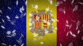 Andorra flag falling snow loopable, New Year and Christmas background, loop.