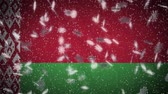 Belarusian flag falling snow loopable, New Year and Christmas background, loop.