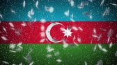 falling stars : Azerbaijan flag falling snow loopable, New Year and Christmas background, loop. Stock Footage
