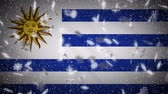 Uruguay flag falling snow loopable, New Year and Christmas background, loop.