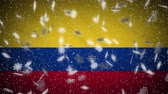 Colombia flag falling snow loopable, New Year and Christmas background, loop.